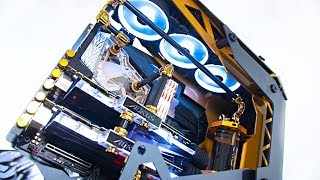 $9000 Ultimate High End Water Cooled Gaming & EDITING PC Build | Crazy Time Lapse