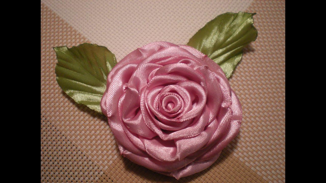 Как сделать цветы из атласных лент мастер класс фото