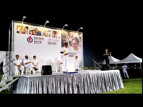 PAP's Murali sings at the election rally at Bukit Gombak Stadium