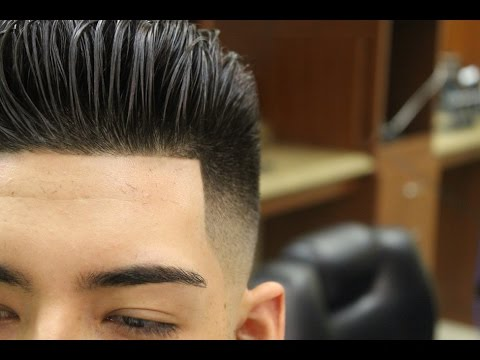 Slicked Back Pompadour with Bald Fade; pomp; scissor haircut; razor fade