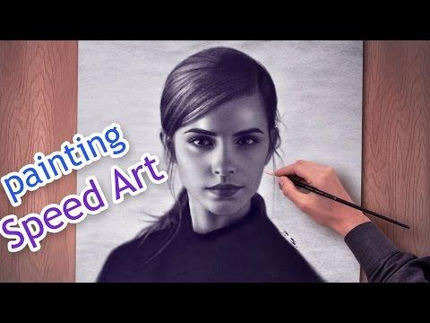 Emma Watson AMAZING speed paint | Beautiful Girls HD draw face woman
