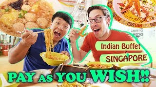 Singapore PAY AS YOU WISH Indian Buffet & FRESH Prawn Noodles at Old Airport Road Hawker Center