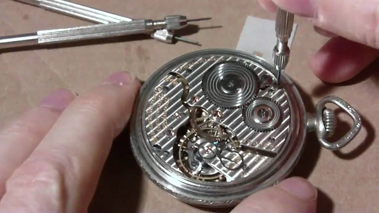 how i take apart a pocket watch hamilton 992 part 1 of 2