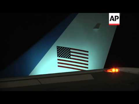 President Obama arrives at Rome's Fiumicino Airport