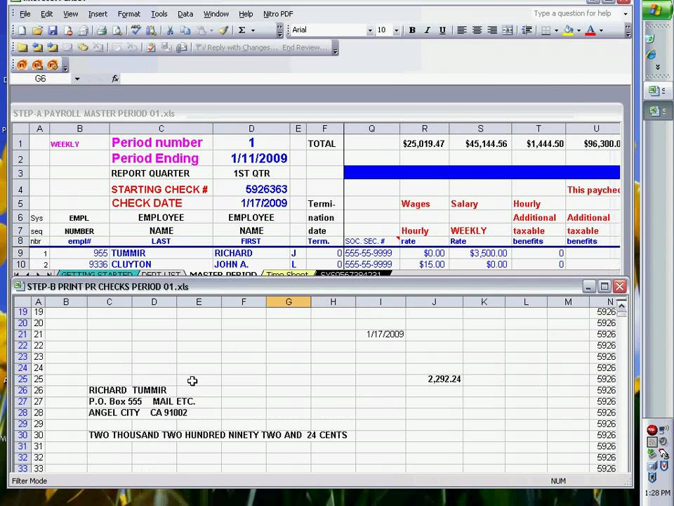 PAYROLL CHECKS USING EXCEL READY TO PRINT - YouTube