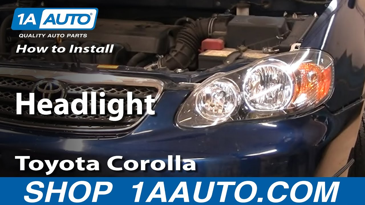 How To Install Replace Headlight Toyota Corolla 03 08
