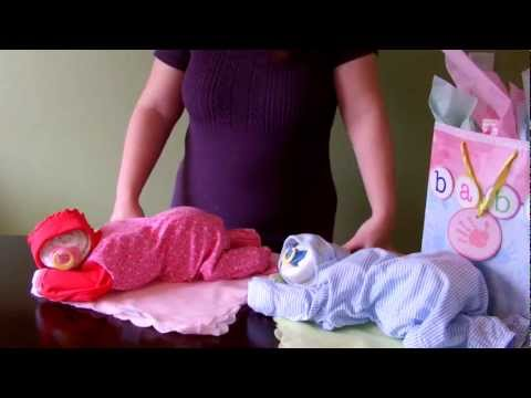 How To Make A Diaper Baby - Sleeping Baby Girl (diaper Cake) video