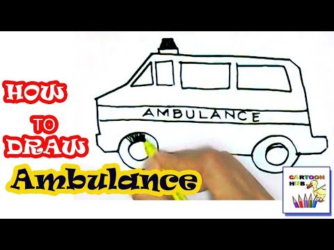 How to draw Ambulance in easy steps, step by step for children, kids, beginners