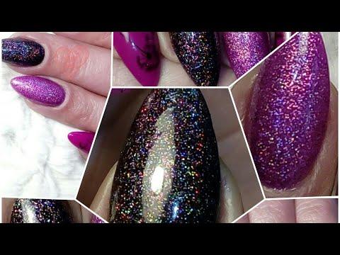 Holographic laser glitter gel nails
