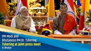 PM Modi and Bhutanese PM Dr. Tshering at joint press meet in Bhutan