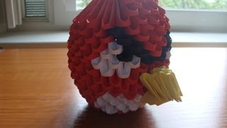 3d Origami Red Angry Bird