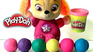 Play Doh Sparkle Surprise Balls with Paw Patrol Skye and Shimmer and Shine by Funtoys