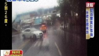 [東森新聞HD]轎車過彎車速快 打滑甩尾撞貨車