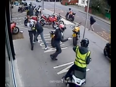 Gang's Attempted Ducati Robbery Croydon Motorbike Showroom Caught On CCTv. 4/09/2012
