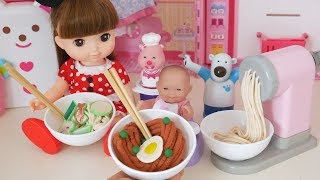 Baby Doll Noodles Black-Bean-Sauce Noodles  Cooking Time Play-doh Toy Soda