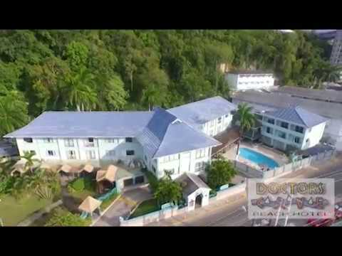 Aerial Footage of Doctors Cave Beach Hotel and surroundings