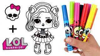 MH Clawdeen Wolf LOL Doll Transformation | How to Draw Clawdeen as LOL Surprise Doll for Kids