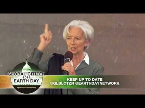 Christine Lagarde on stage at Global Citizen 2015 Earth Day