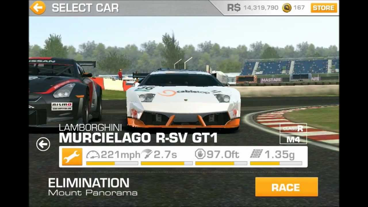 new intro real racing 3 lamborghini murcielago r sv gt1 youtube