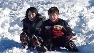 Playing and sledding in the snow!