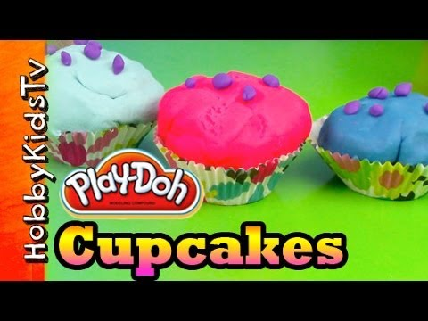 Hello Kitty PLAY-DOH Surprise Toy Egg Cupcakes! Cookie Monster Eats Lemon Cupcake
