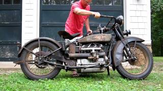 1928 Henderson Deluxe Antique Motorcycle Running