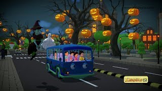Wheels on the Bus Halloween song | trick or treat | scary song |  kindergarten | rhyme | kiddiestv