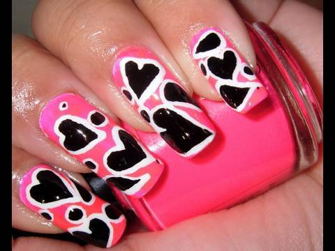 Hot Pink with Black and White Hearts nail design!