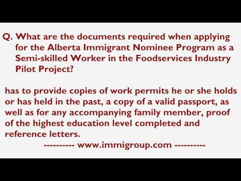 Documents required for AINP as a Semi-skilled Worker in the Foodservices Industry Pilot Project