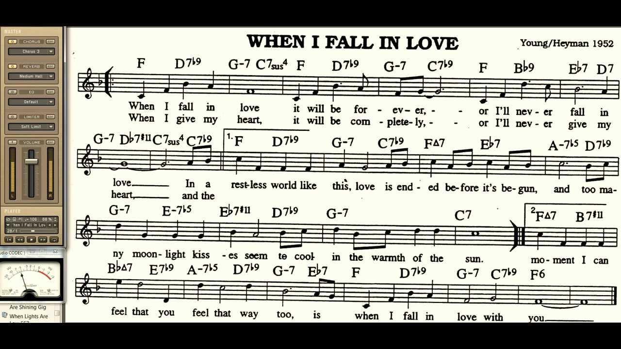 When i fall in love playalong for cornet trumpet vocal or for Haute u should know lyrics
