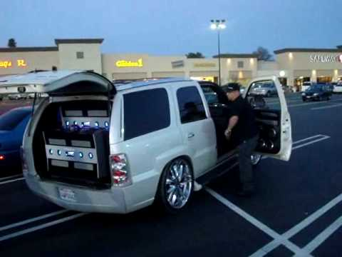 """Parking Lot Pimpin' - Another CAddy Demo 8 18"""" Subwoofers!!"""