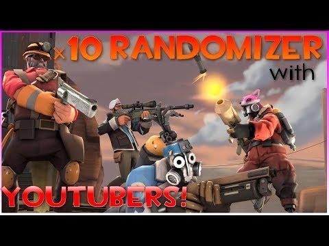TF2: X10 Randomizer W/ Youtubers! (feat AudeoBeem, Zova, Mechawreck & Andrew Adolf)