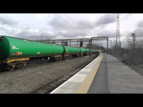 (HD) Colas Rails 66847 Arrives Into Crewe Working 6S96 Sinfin - Grangemouth BP Tanks - 4/4/13