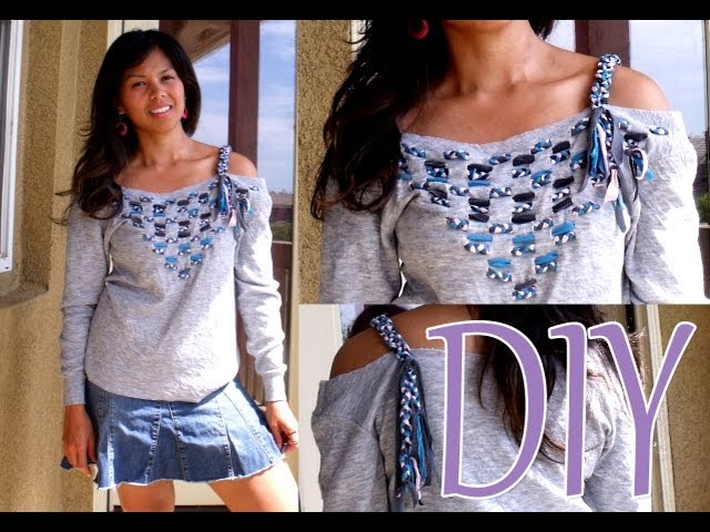 DIY: Braided Weave Top From An Old Sweatshirt