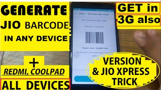 How to Generate JIO Barcode in any mobile   Jio Xpress trick   Hindi