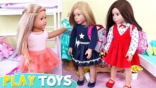 Baby Doll Sleepover Party Pizza Dinner in Doll Bedroom Bunk Beds!