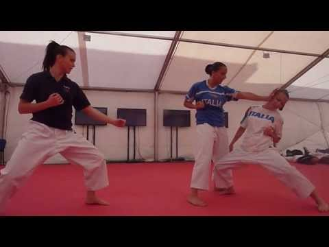 Italy Kata Team Female. Backstage scenes. Warm up room. 48th European Karate Championships