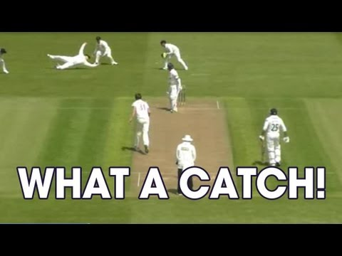 Is this the catch of the season so far? Stewart Walters dives to scoop up Mark Pettini during Glamorgan's game against Essex.
