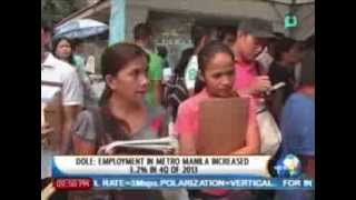 [NewsLife] DOLE: Employment in Metro Manila increased 3.2% in 4Q of 2013 || Apr. 14,' 14