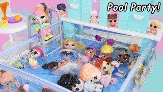 Pool Party in Barbie Waterfall Pool with LOL Surprise Dolls #Hairgoals   Makeover Series 5