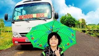Kids Go To School By Little Buses  Wheel On The Bus Song