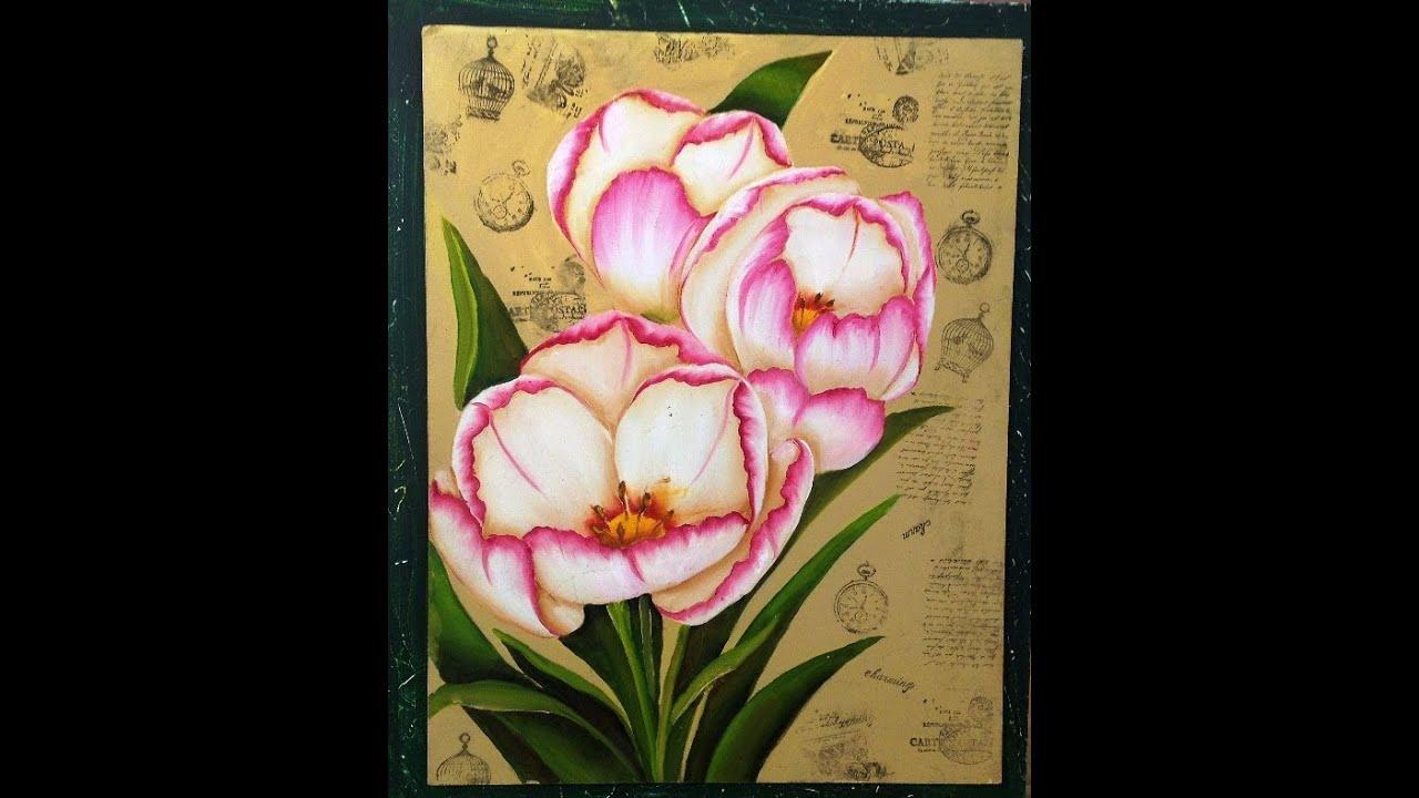 Como pintar flores tecnica americana youtube - Cuadros para pintar ...