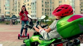 Funny kid Ride on Power Wheels! Prank for kids and baby