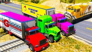 Can A Colorful Trucks Stoping the Train Cartoon