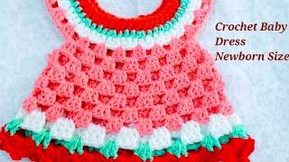 How to make  crochet baby dress {newborn size}-1