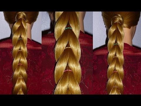 Причёски на длинные волосы с помощью резинок