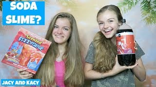 Making Soda Slime ~ DIY Soda Slime vs Slime Kit Challenge ~ Jacy and Kacy