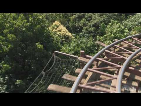 Indiana Jones & the Temple of Peril rollercoaster in Disneyland Park, Paris. (Onride front seat) HD.