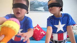 Guess toys Blindfold Challenge with childrens