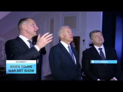 US Vice President in Ukraine: Joe Biden tours war art show